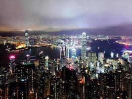 Hong Kong skyline di notte foto