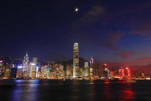 vista notturna di Hong Kong foto