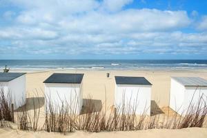 capanne blu della spiaggia a Texel foto