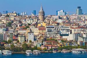 architettura storica del quartiere di Beyoglu e torre medievale di galata foto