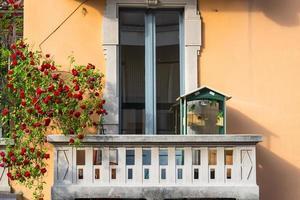 milano, balcone con uccelli e rose foto