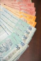 vicino banconote dei soldi della Malesia foto