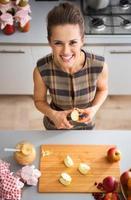 Ritratto di felice giovane casalinga taglio mela per marmellata foto