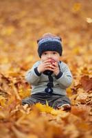 piccolo bambino sveglio nel parco di autunno foto