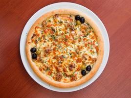 primo piano della pizza foto