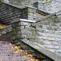 scala in pietra che porta, primo piano foto