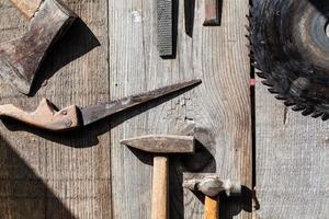 vicino strumenti di carpenteria foto