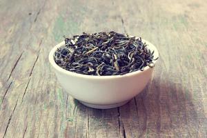 fine del tè verde in su foto