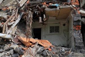stretta di rovine. foto