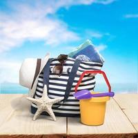 spiaggia, borsa da spiaggia, isolata foto