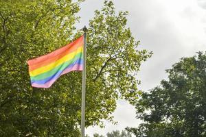 Bandiera lgbt davanti al posto di caffè nel parco foto