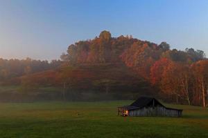 alba in Virginia occidentale con cervi e colori autunnali foto