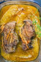 petto d'anatra arrosto in arancione foto