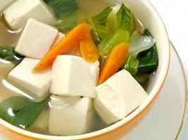 zuppa di tofu e verdure. foto