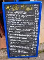 bordo del menu dei frutti di mare foto