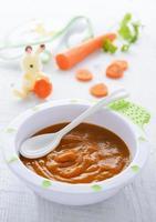 purea di carote nel piatto sulla tovaglia verde foto