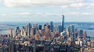 vista di paesaggio urbano di Manhattan, New York City. foto