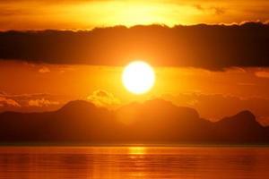 cielo al tramonto e lago foto