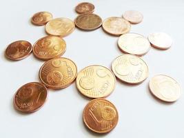 sole dei soldi - monete in euro di rame foto