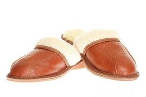 pantofole marrone isolato su uno sfondo bianco. foto