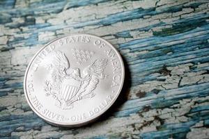 moneta americana dell'aquila d'argento foto