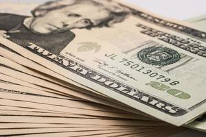 banconote da un dollaro americano, virata di denaro foto