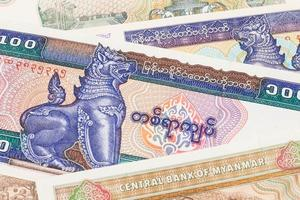 primo piano delle banconote del kyat dei soldi del Myanmar