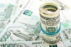 macro di banconote da cento dollari foto