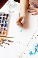 processo di disegno ad acquerello foto