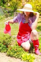 donna innaffiare le piante in giardino foto