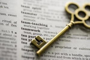 successo aziendale, visione chiave del concetto di lavoro di squadra foto