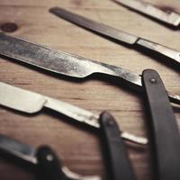 set di strumenti del negozio di barbiere vintage foto