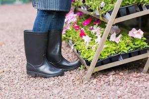 giardiniere indossando stivali di gomma in vivaio foto