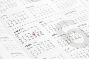 primo piano dei numeri sulla pagina del calendario foto