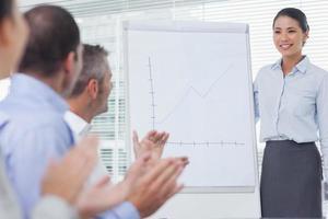 uomini d'affari che applaudono il loro collega per la sua presentazione foto