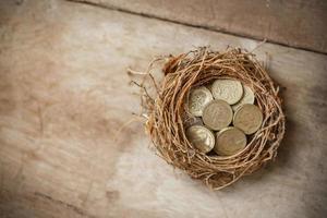 monete di sterlina britannica con nido di uccello e uovo rotto