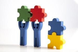 concetto di lavoro di squadra, persone e icone foto