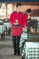Indossare abbigliamento occupazione camerieri cinesi foto