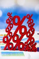 concetto di finanza, percentuale, tono colorato naturale foto