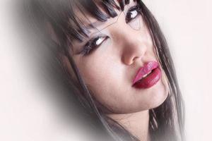 ritratto di una modella asiatica con i capelli bagnati e sensuale foto