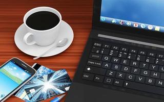 luogo di lavoro moderno con attrezzature e accessori per ufficio foto