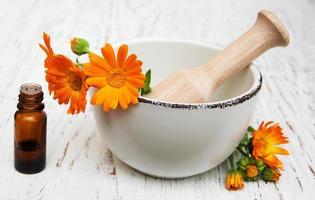 fiore di calendula officinalis in mortaio