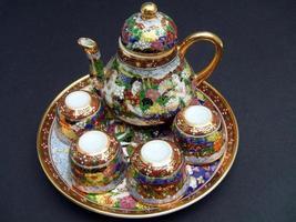 set da tè cinese tradizionale vintage foto