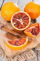 porzione di arancia rossa fresca foto