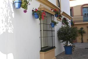 strada sul tipico villaggio andaluso bianco foto