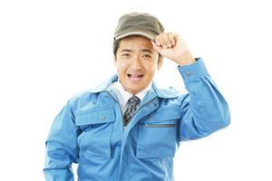 lavoratore asiatico sorridente foto