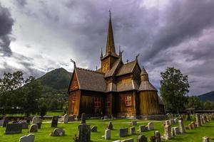 lom stave church, norvegia foto
