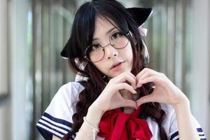 ragazza asiatica della scuola foto