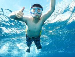 pollice in alto sott'acqua foto