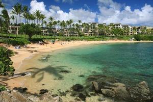 scena dell'hotel della località di soggiorno della spiaggia dell'oceano Pacifico del Maui Hawai